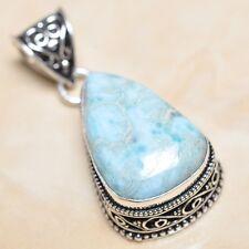 "Handmade Pale Blue Caribbean Larimar 925 Sterling Silver 1.75"" Pendant #F00148"