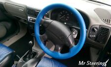 FOR VW POLO MK3 6N 6N2 REAL GRAIN ROYAL BLUE LEATHER STEERING WHEEL COVER 94-02