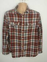 MENS FAT FACE CHECKED BLUE BROWN WHITE LONG SLEEVED SHIRT TOP BUTTON UP MEDIUM M
