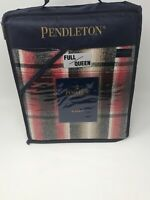 "Pendleton Home Full/Queen Red & Black Plaid Blanket - 90"" x 96"" - 100% Cotton"