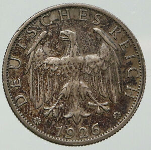 1926 A GERMANY Weimar Republic EAGLE Antique Silver 2 Mark German Coin i92706