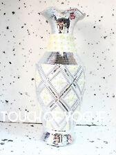 60cm ROMANY VASE WHITE SILVER DIAMANTE CERAMIC GYPSY FLOWERS MIRROR DECORATION