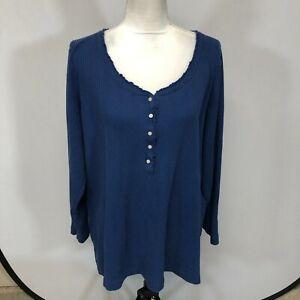 Cacique Women PJ Sleep Shirt Tee T-Shirt Shirt Top Size 22/24 Blue A262 -28