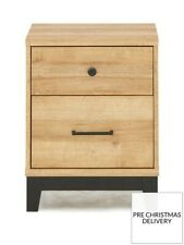 From Very* Dalston 2 Drawer Bedside Table Cabinet Rustic Oak