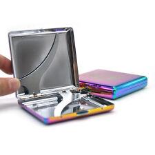 1 X Metal Cigarette Case Holder 2 Sided Spring Clip Open Pocket Rainbow Color