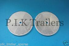 FREE P&P* 2 x 80mm White XL Reflectors Driveway Gate Fence Posts & Trailers