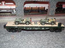 O GAUGE US ARMY FLAT CAR WITH 2 U S ARMY JEEPS NICE!!!!! LIONEL MTH MENARDS