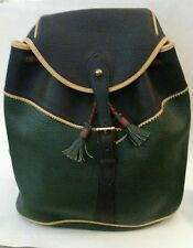 Vintage DOONEY & BOURKE Tri-Color Drawstring BACKPACK AWL Green Blue Yellow