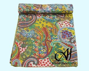 Indian Kantha Quilt Paisley Print Bedspread Cotton Bedcover Queen Size Blanket