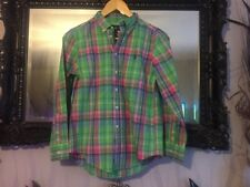 Boys Ralph Lauren Green/Pink Checked Shirt Age 10-12 Years New