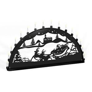 Schwibbogen Lichterbogen Weihnachtsmann Rentier Metall XXL Außen schwarz groß