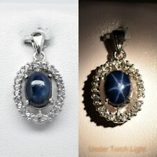 9x7mm Natural 6 Ray Blue Star-Sapphire Pendant With Topaz in 925 Sterling Silver
