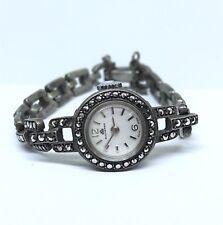 Vintage 800 Silver BUCHERER Ladies Wrist Watch Marcasite Stones Swiss Made