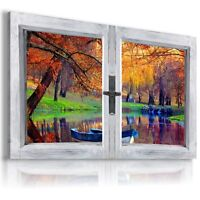 AUTUMN RIVER BOAT PARK 3D Window View Canvas Wall Art Picture  W94 MATAGA .