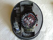 Citizen Eco-Drive Black Ion-Plated Stainless Steel Red Solar Chronograph Watch