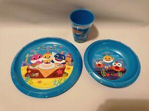 PINKFONG BABY SHARK 3 PIECE DINNER SET - STOCKING FILLER - PLATE - BOWL - CUP