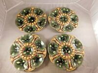 LOT OF 4 ANTIQUE MAJOLICA OYSTER SHELL PLATES