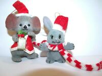 Mice Flocked Mouse Christmas Ornament Red Santa Hat Gift Scarf