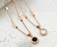 New 18K Rose Gold GF Roman Numerals Mother of Pearl Pendant Charm Necklace Chain