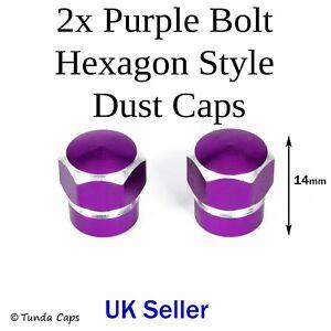 2x Purple Chunky Hexagon Valve Stem dusts caps Car BMX Wheel alloy