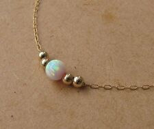 Opal necklace, 5mm opal ball necklace, opal gold necklace, white opal jewelry