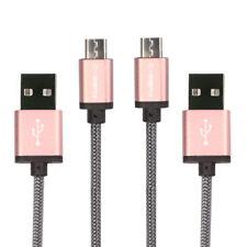 2x Micro USB Kabel 2m Schnellladekabel Smartphone Samsung S6 Huawei LG Rosè Gold