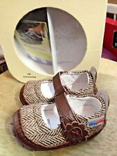 FIRST WALKER Creeper Cruiser BABY Crib Shoes RILEYroos COCOA BROWN TWEED 3-6m XS