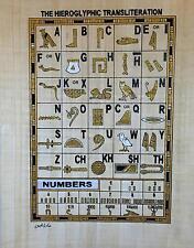 New Hand Painted Egyptian Art on Papyrus Heirogliphic Transliteration Glitter 68