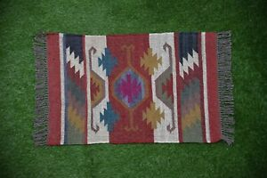 Indien Area Rugs Flat Weave Hand-woven Floor Carpet Oriental Area Throw 2x3-24