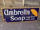 Umbrella Soap Kitchen Bathroom Old Shop Advertising Enamel Sign c1920s