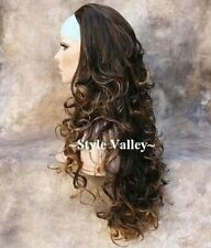 Brown Mix 3/4 Fall Hairpiece Half Wig cap Long Curly/Wavy Layered Hair Piece NEW