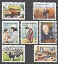 Laos 1982 Tractor/Camión/radio/médico/Vaca 7v Set n20897