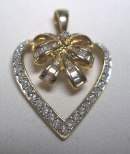 NUEVO 14 Quilates YLW ORO Original colgante de corazón de diamante