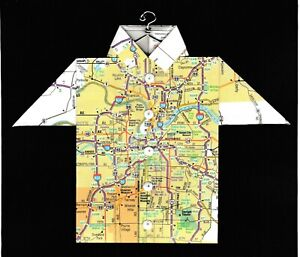 Origami Map Shirt Missouri, Kansas City, Kansas City Zoo, Worlds of Fun, U of MO