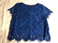 Lulus Blouse Blue Floral Lace Womens X-Small Brand New without Tags %