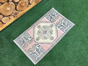 1'9''x3'1'' Vintage Turkish Mat Rug,Oushak Small Rug,Bath Mat,Door Mat,Floor Mat
