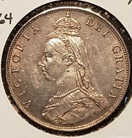 1887 Great Britain 1/2 Crown KM-764!