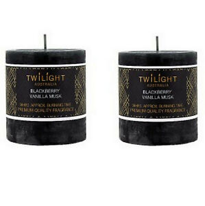 2x Scented Pillar Candle Black Candles Blackberry Vanilla Musk 7x7cm