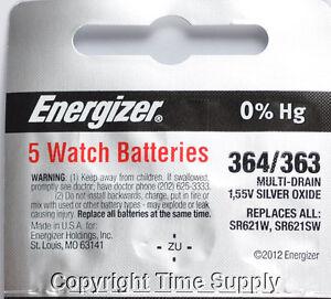 5 pcs 364 / 363 Energizer Watch Batteries SR621SW SR621 0% Hg
