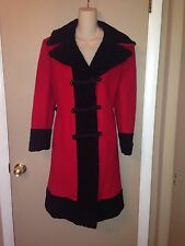 SPECTACULAR RED WOOL AND BLACK ASTRAKHAN ZINMAN FURS COAT SIZE M.