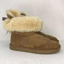 UGG Australia Girls Bailey Bow II 1017394K Brown Suede Winter Boots Pull On Sz 6