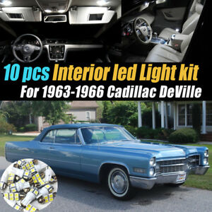 10Pc Super White Car Interior LED Light Bulb Kit for 1963-1966 Cadillac DeVille