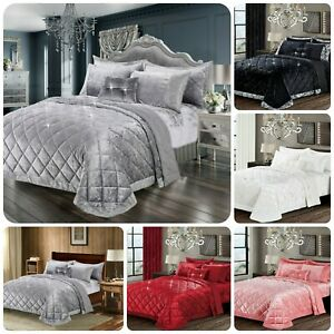 3 Piece New Luxury Modern Crushed Velvet Quilted Bedspread Throw Bedding Sets