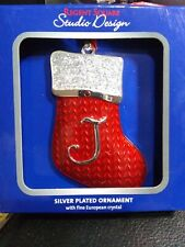 New REGENT SQUARE CHRISTMAS TREE ORNAMENT STOCKING WITH LETTER J- BRAND NEW