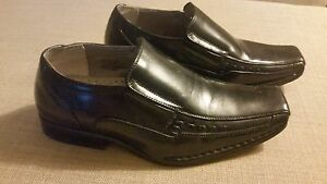 Stacy Adams TEMPLIN Boys Black Leather Slip On Casual Dress Loafer Shoes 3.5 M