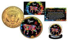 Chinese Zodiac PolyChrome Genuine JFK Half Dollar 24K Gold Gilded Coin - TIGER