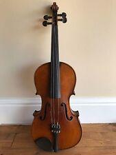Hermoso Antiguo Circa 1900 violín con Madre De Perla Con Incrustaciones De Arco Y Estuche