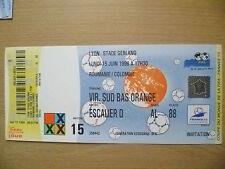 Coupe du Monde 1998 Tickets Stubs-Roumanie/COLOMBIE 15. Juin, Match - 15 (ORG, EXC *)