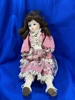 THE HERITAGE MINT LTD PORCELAIN DOLL - No Box - Pink Lace Dress / Dark Hair