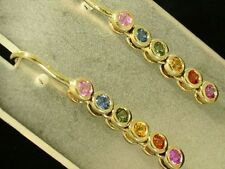 E048- Lovely 9ct SOLID Yellow Gold NATURAL  Fancy Sapphire Earrings Journey